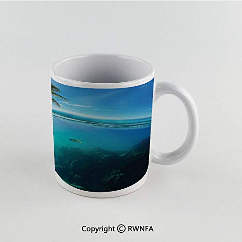 11oz Unique Present Mother Day Personalized Gifts Coffee Mug Tea Cup White Ocean,Tropical Underwater Shot with Surface Coconut Tree and Sky Aqua Water Theme Paradise Image,Turquoise Funny Ceramic Cof