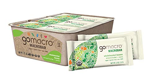 Gluten Free Carob - GoMacro MacroBar Organic Vegan Snack Bars Almond Butter + Carob 2 Ounce Bars (Pack of 12)