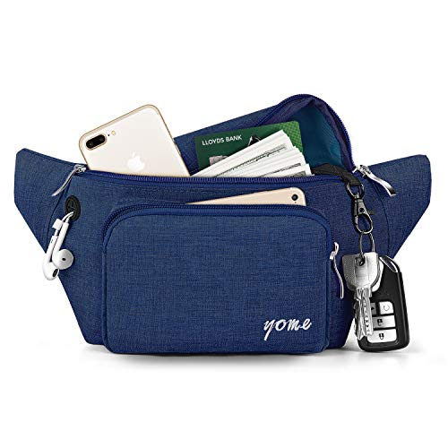 Fanny Pack for Men and Women, Yome Waist Pack Belt Bags with Adjustable Strap(Blue)