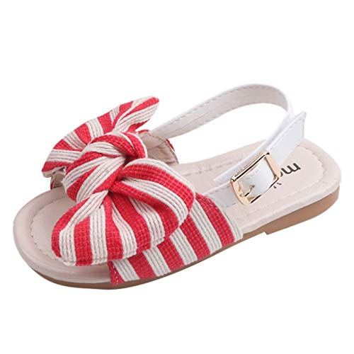 Kids Baby Girls Casual Sandals Striped Bowknot Buckle Non-Slip Beach Slipper Shoes (US:10C, Red)