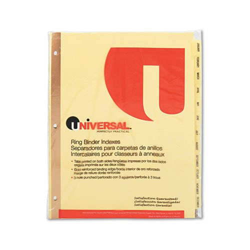 Universal 20814 Preprinted Plastic-Coated Tab Dividers, 12 Month Tabs, Letter, Buff, 12/Set UNIVERSAL OFFICE PRODUCTS na UNV20814-UN0912NU
