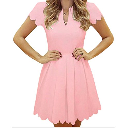Sweet Pea Wig (YeeATZ Sweet Scallop Pleated Skater Dress(Pink,M))