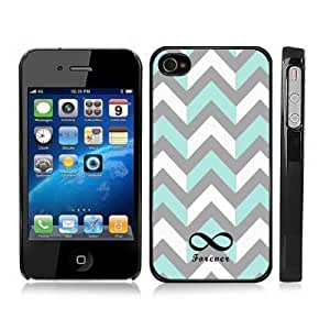 Gray and Turquoise Chevron Zig Zag Infinity Forever Snap-On Case Hard Carrying Cover for iPhone 4/4S (Black) by lolosakes
