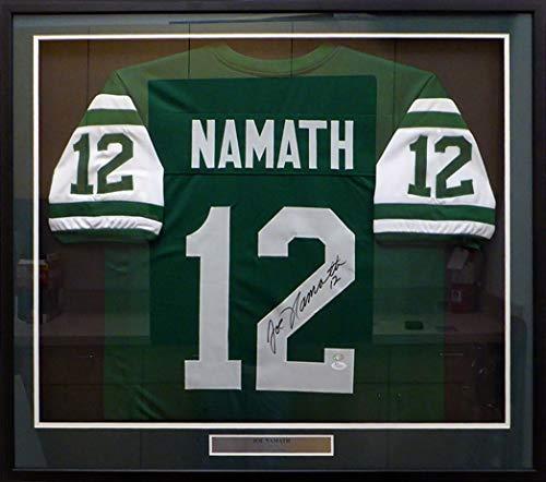 New York Jets Joe Namath Autographed Framed Green Jersey JSA #W572079