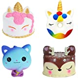 CAMTOP Squishies Slow Rising Jumbo Squishy Toys 4 Pieces Kawaii Party Favors Unicorn Cake, Unicorn Donut, Deer Cake, Ice Cream Cat Squishies Novelty Toys for Kids
