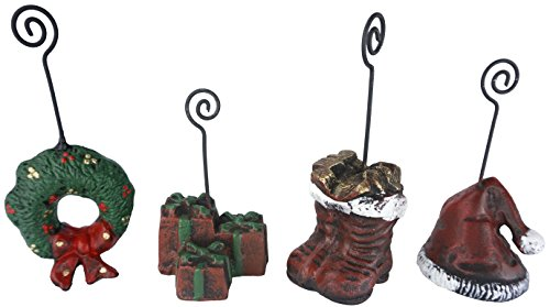 Lulu Decor, Cast Iron Christmas Place card Holders, set of 4 in shape of presents/gifts, christmas Wreath, red Stocking and Christmas hat, perfect for housewarming gifts (Place card Holder) (Christmas Card Holders Place)