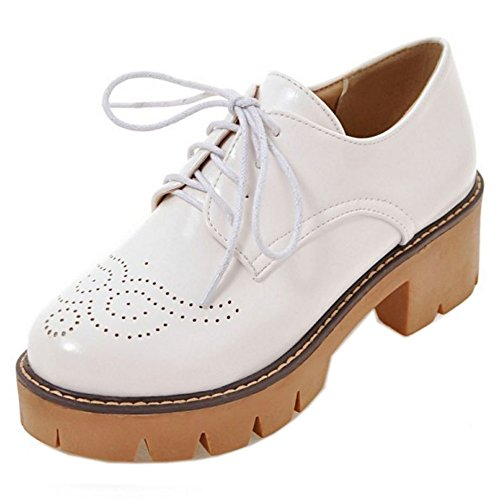 COOLCEPT Zapatos Moda Cordones Dedo Del Pie Cerrado Bombas Zapato Tacon Ancho Chicas Colegio Zapatos Mujer Blanco