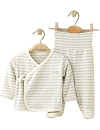 100% Cotton 2-Piece Baby Pajamas Set, Long Sleeve Kimono Shirt and Essential Footed Pants Newborn-6 Months