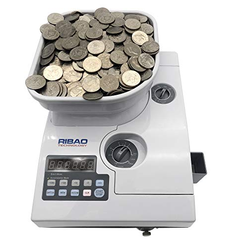 Ribao CS-2000 High Speed Coin Counter, Bank Grade Heavy Duty Coin Sorter with Large Hopper Capacity, Two-Year Warranty