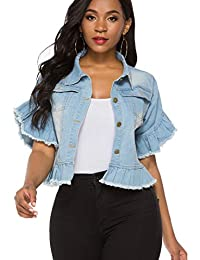 Women's Denim Jacket Button Down Distressed Ruffle Sleeve Crop Jean Jackets Coat