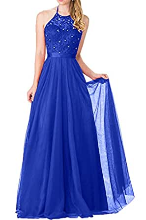 DressyMe Delicate Prom Dresses Long Halter A-line Embrodiery Wedding Party Dress-26W-Royal Blue