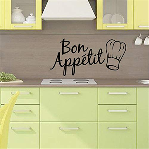 (Eraty Wall Stickers Art DIY Removable Mural Room Decor Mural Vinyl French Quote Bon Appetit for Kitchen)