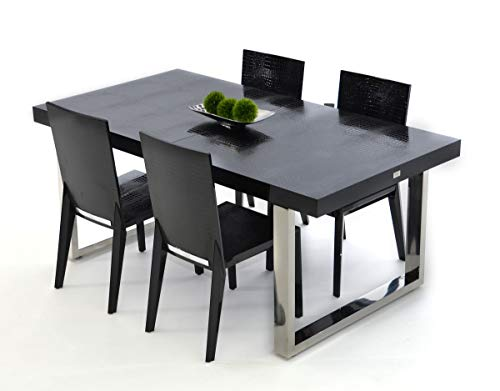 HomeRoots MDF, Stainless Steel Legs Modern Black Crocodile Lacquer Dining Table
