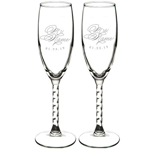 Set of 2 EXPRESS Personalized 5.75 oz Champagne Flute Engraved Glass Gift Twisted Stem-Wedding Present Bride and Groom Gift Wedding Gift Mr & Mrs Wedding Party Glass Lead Free BPA (Mr+Mrs Name) 5.75 Ounce Champagne Flute