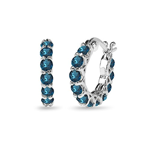 Sterling Silver London Blue Topaz Small Round Huggie 18mm Hoop Earrings