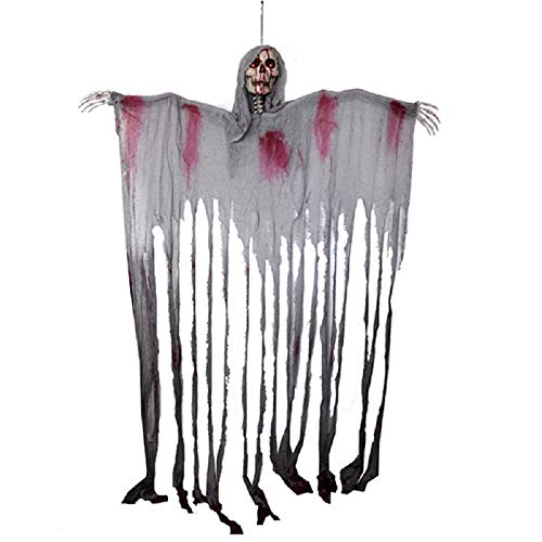 (Halloween Skull Hanging Reaper Printing Ghost Wide Door Curtain Haunted House Escape Horror Props Decorations - 78x60 inch -)