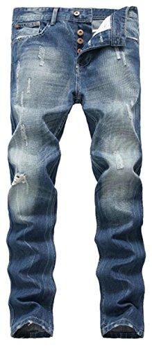 Distressed Straight Leg Jeans (DigerLa Men's Distressed Straight Leg Denim Pants Ripped Jeans Blue)