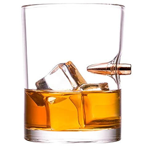 Lucky Shot 308 Bullet Whiskey Glass | Handmade Embedded Copper Bullet Duratuff Treated 10oz Borosilicate Rock Glass