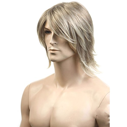 Mens Ginger Wig (GOOACTION Mens Europe and America Cool Short Natural Grey Flaxen Mixed Blonde Wig Special Synthetic Hair)