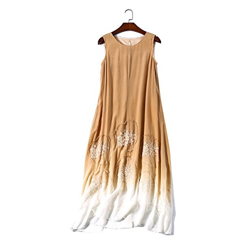 China Palaeowind Spring And Summer Female Silk Dress Dress,Khaki-L by China palaeowind