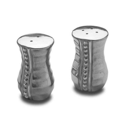 Salt Set And Wilton Pepper - Wilton Armetale Flutes and Pearls Salt and Pepper Shakers, 1-1/4-Inch by 2-3/4-Inch (each)