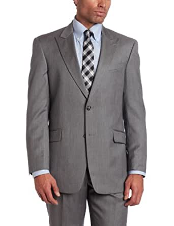 Tommy Hilfiger Men's 2 Button Side Vent Trim Fit Stripe Suit with Flat Front Pant and Peak Lapel, Gray, 36 Small