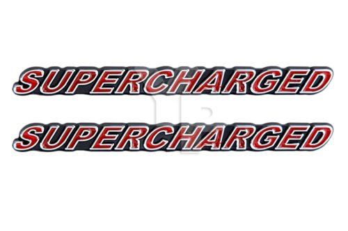 SUPERCHARGED Supercharger Engine Emblems in Chrome & Red Trim - 5.5