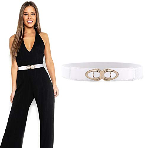 JASGOOD Vintage Elastic Belts for Women Ladies Stretch 1.5Inch Wide Cute Belts for Dress with Gold Buckle(White,Waist size 35-40Inch)