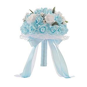 Romantic Wedding Roses Flowers Bridal Bouquet,Ribbon Wedding Holding Flower Bouquet,Bride Bridesmaid Bouquet for Wedding Party Birthdays Decoration 103