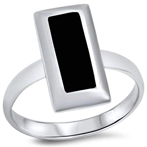 Princess Kylie Synthetic Black Onyx Rectangular Shape Ring Sterling Silver Size 9