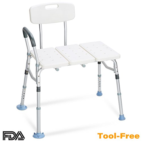 OasisSpace Tub Transfer Bench 400 lb   Heavy Duty Bath Shower Transfer Bench   Adjustable Handicap Shower Chair with Reversible Backrest   Medical Bathroom Aid for Disabled Seniors Bariatric