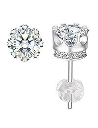 """Stud Earrings, J.Rosée 925 Sterling Silver Earrings Fine Jewelry for Women""""Princess Crown"""" Best Gift for her"""