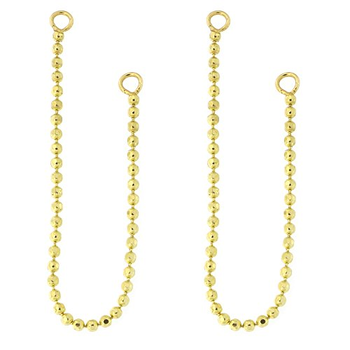 Earrings Dangle Chain Bead (Automic Gold Solid 14k Yellow Gold Bead Chain Earring Jacket Connector)