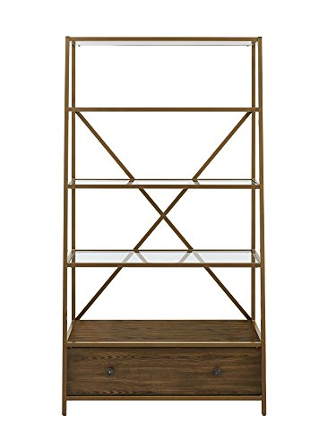 - Dorel Living Moriah Pyramid Bookcase Etagere, Brass