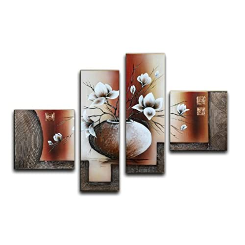 Wieco Art Large Size Decorative Elegant Flowers 4 Panels 100% Hand Painted  Modern Contemporary Artwork Floral Oil Paintings On Canvas Wall Art For  Home ...