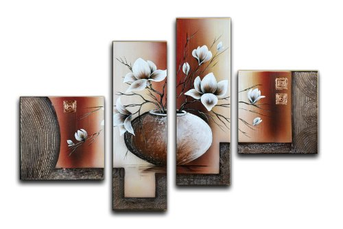 Wieco Art Large Size Decorative Elegant Flowers 4 Panels 100% Hand-painted Modern Contemporary Artwork Floral Oil Paintings on Canvas Wall Art for Home Decorations Wall Decor (Hand Painted Artwork Set)