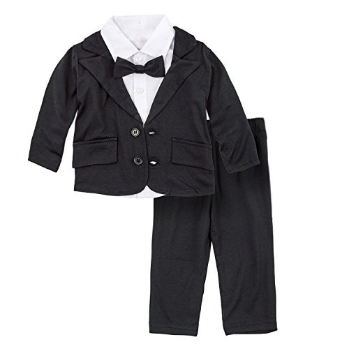 BIG ELEPHANT Baby Boys Tuxedo Suit Formal Party Set Wedding Outfit E16 Size 90 (12-18 Months)
