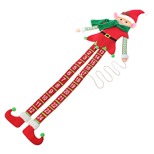57-inch Elf Count Down Advent Christmas Calendar, Fabric, Moveable Candy Cane Decoration