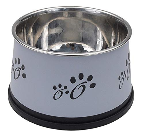 (MPP Dog Bowls Stainless Steel Non-Tip Keep Dry Long Ear Breed Food Water Dishes 30oz)