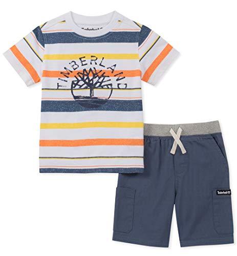 Timberland Boys' Toddler 2 Pieces Shorts Set, Blue/White Stripes, 4T (Toddler White Timberland)