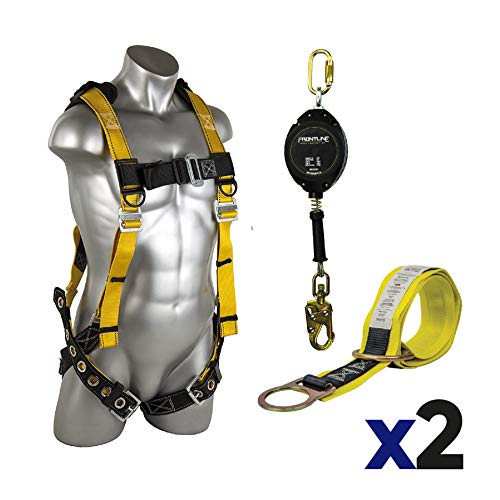 Guardian 11169 Seraph 5 Points Harness + Web 3 ft Anchor Sling with 2 D-rings + Cable 20ft SRL with Steel Snap Hook End (Size S/Kit- 2 Pack)