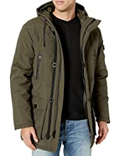 Cole Haan Men's Oxford Faux Down Puffer Coat, Olive, L