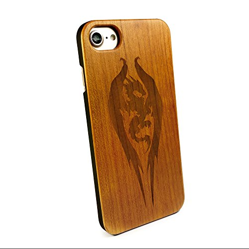 Tuff-Luv Genuine Cherry wood case for Apple iPhone 6s / 7 - 'Guardian' Dragon