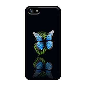 Scratch Protection Hard Cell-phone Cases For Iphone 5/5s (PLp8093GPSc) Custom Vivid Butterfly Series