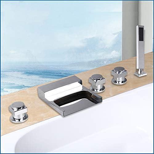 クロム浴槽の蛇口セットホットコールドウォーターシャワーミキサータップデッキマウントバスルーム3ハンドルハンドヘルドシャワーと広い滝の注ぎ口を備えた5穴の浴槽の蛇口