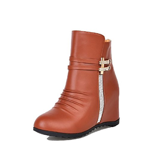 Women's High Closed Zipper PU Heels Toe Round Boots AgooLar Brown Solid ZdwqOTT