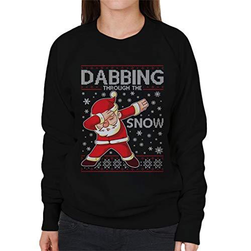 Pattern The Santa Snow Christmas Knit Through Sweatshirt Dabbing Women's Black Coto7 UZqxA0E