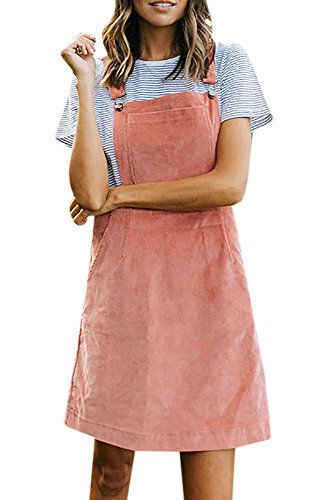 Imily Bela Women's Strapped Corduroy Bib Front Pocket Suspender Overall Skirt Midi Dress Soft Corduroy Jumper
