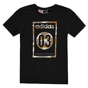 adidas Kids Boys 03 Camo QT T Shirt Junior Crew Neck Tee Top
