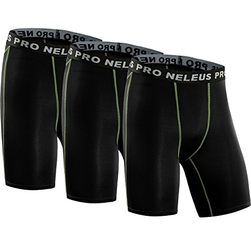 Neleus Men's 3 Pack Compression Short,047,Black,US S,EU M